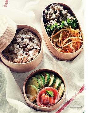 찰밥+불고기 + 호박전+도라지 오이 무침